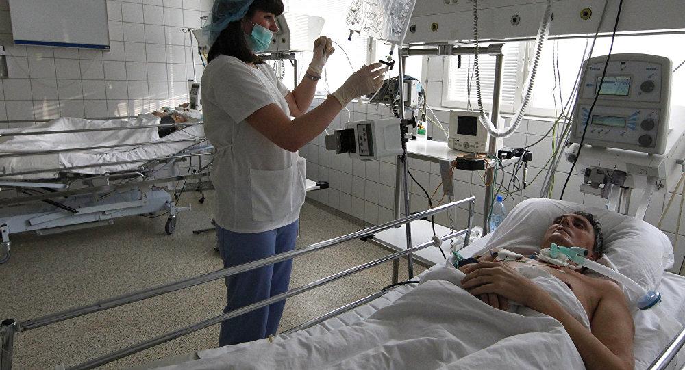 Un paciente en un hospital de Rusia