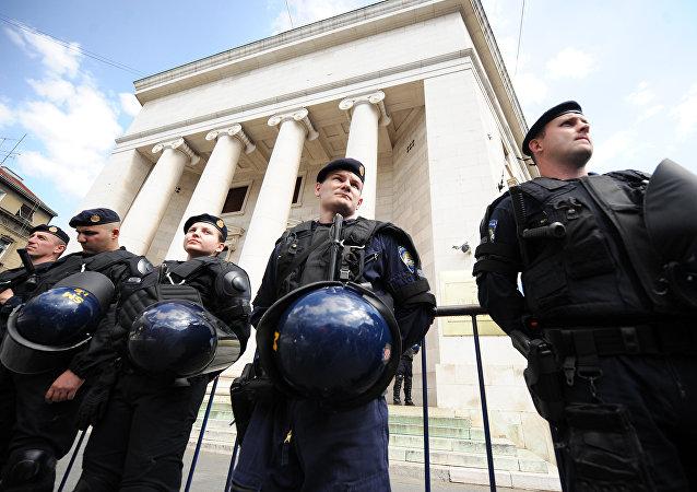 Los policías croatas en Zagreb (archivo)