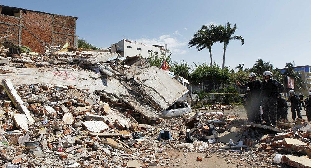 Destrucciones provocadas por el terremoto en Ecuador, abril 17, 2016.