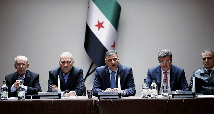 Miembros del Alto Comité de Negociaciones (ACN) en Ginebra (archivo)