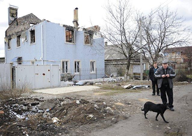 Casa demolida en Donetsk