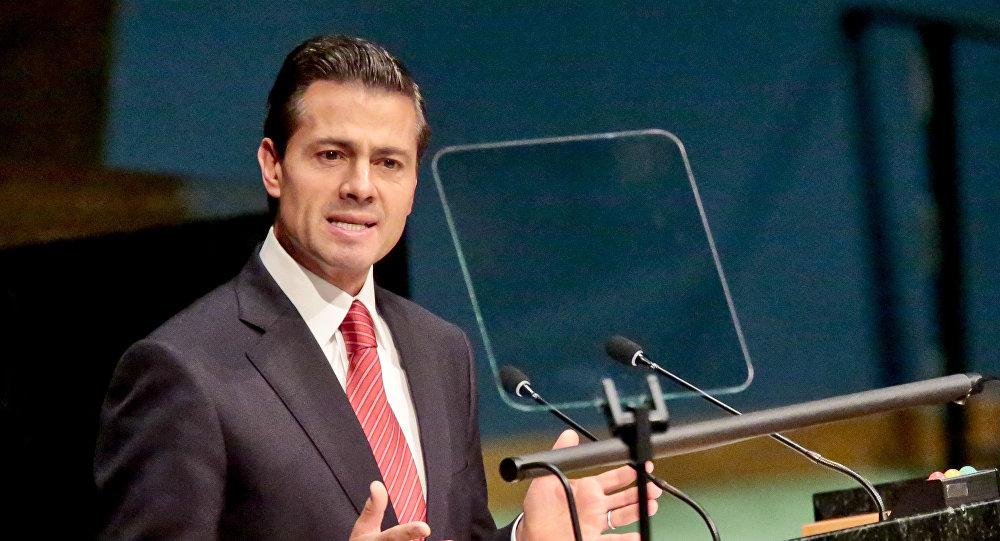 Enrique Peña Nieto, presidente de México, durante la Asamblea General para debatir las políticas de drogas y narcotráfico mundiales