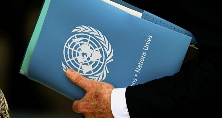 El logo de la ONU en una carpeta
