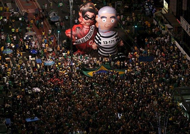 Manifestación antigubernamental en Sao Paulo, Brasil