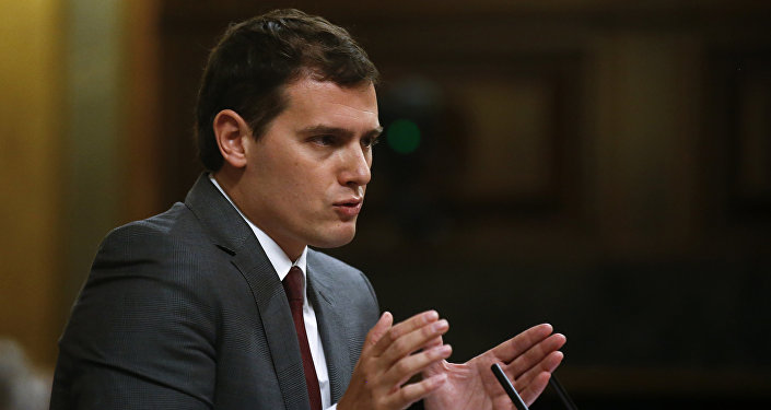 Ciudadanos party leader Albert Rivera speaks during a session in parliament in Madrid, Spain, April 6, 2016.