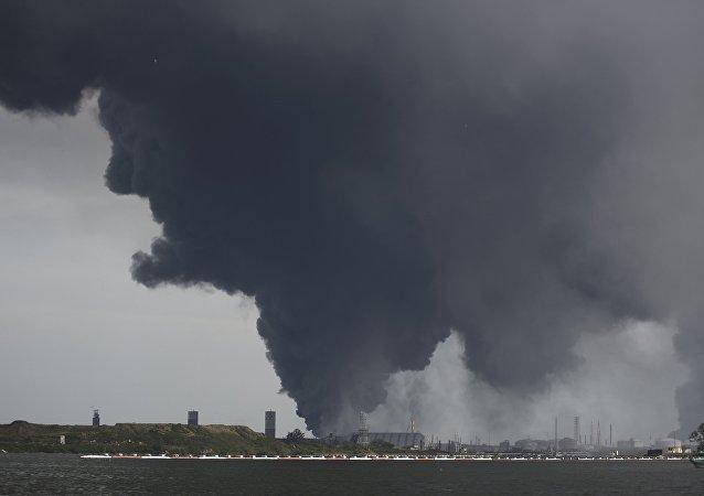 Lugar de la explosión de la planta petroquímica en México