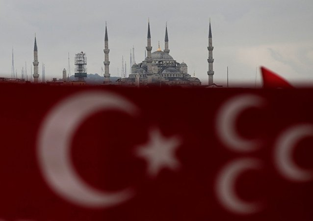 Bandera de Turquía en Estambul