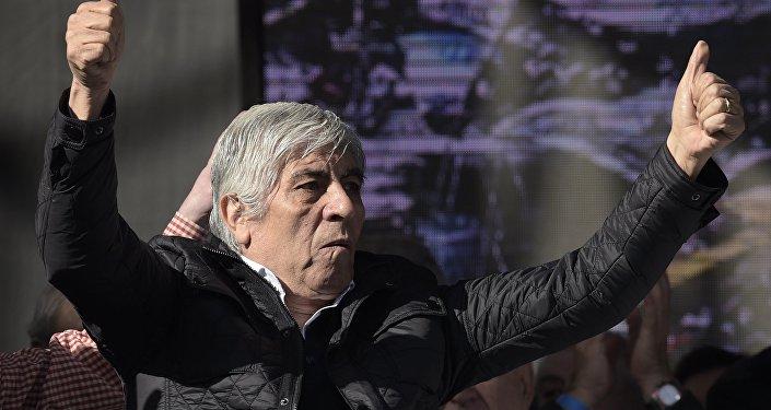Hugo Moyano, líder de la Confederación General de Trabajadores Azopardo.