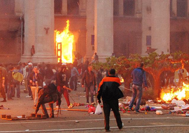 La incendiada Casa de los Sindicatos en Odesa (archivo)