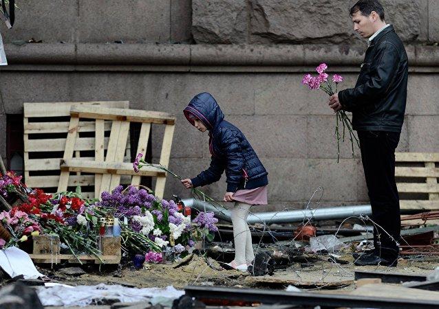 Homenaje a las víctimas del incendio en Odesa