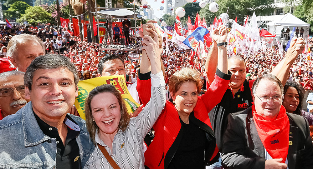 Dilma Rousseff en el acto con motivo del día del trabajador en el centro de Sao Paulo