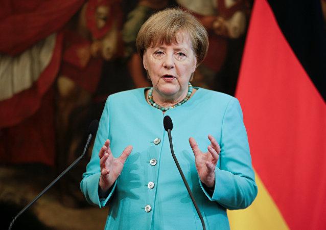 La canciller alemana, Angela Merkel, en una conferencia de prensa en Roma