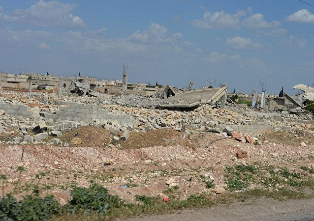 Casas destruidas por los combates en Alepo
