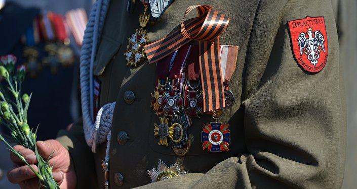Participante de la marcha del Regimiento Inmortal
