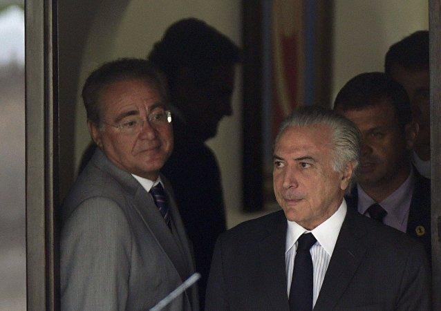 Renan Calheiros, presidente del Senado de Brasil, y Michel Temer, vicepresidente brasileño