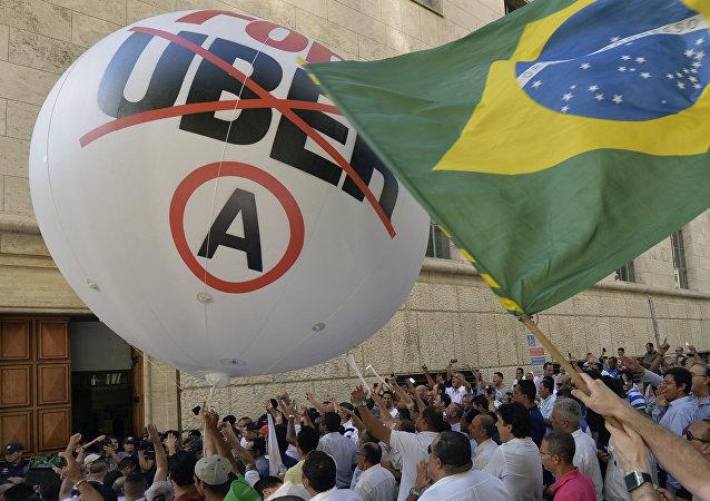 Protestas contra Uber en Sao Paulo (archivo)