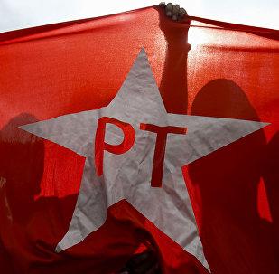 Bandera del Partido de los Trabajadores (archivo)
