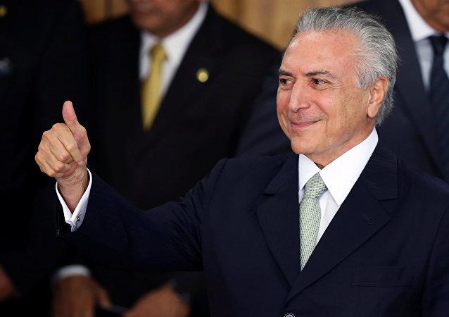 Michel Temer, presidente interino de Brasil