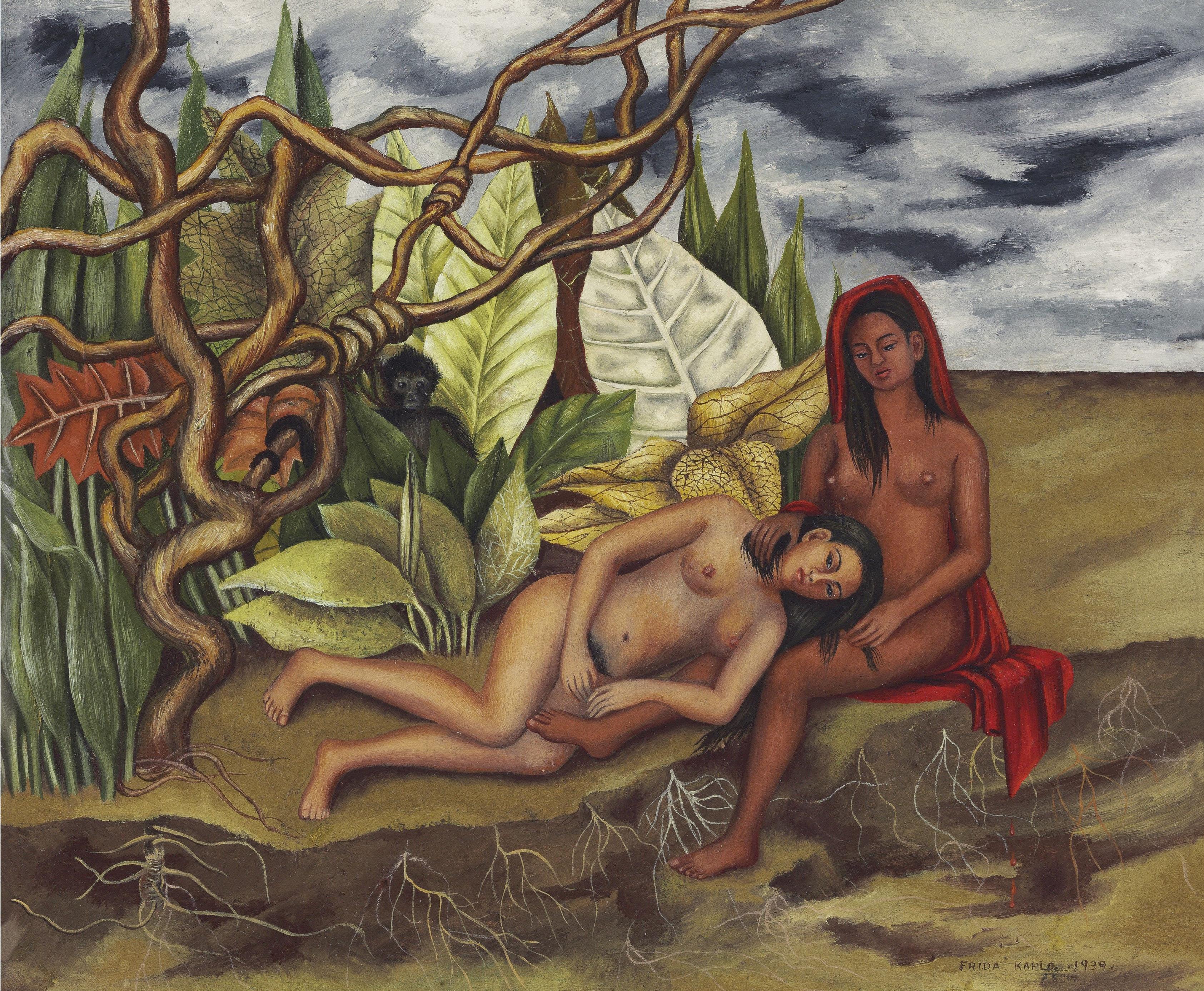 La obra de frida Kahlo Dos desnudos en el bosque (La tierra misma)