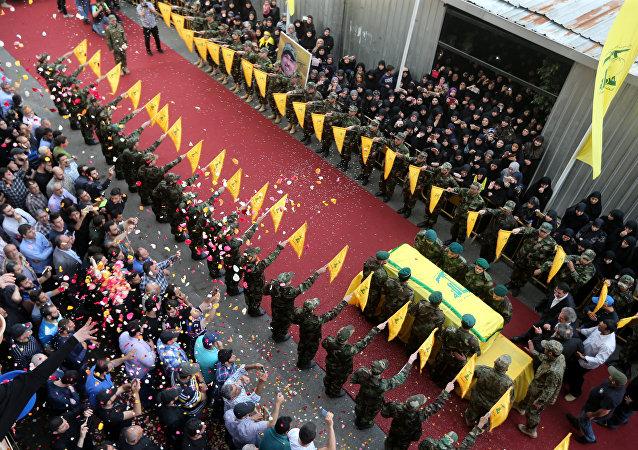 Funeral del uno de los líderes de Hizbulá, Mustafa Badreddine