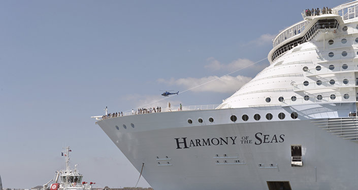 Harmony of the Seas cruise ship as it sails from the STX Saint-Nazaire shipyard