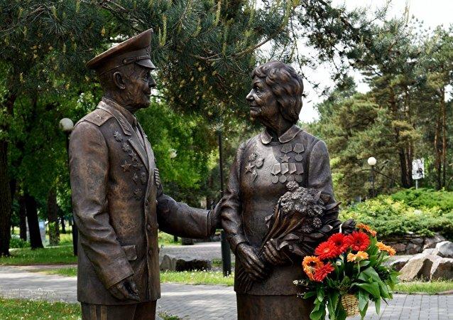 Monumento de los veteranos de la Segunda Guerra Mundial en Kiev, Ucrania