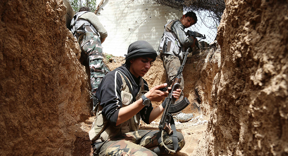 Combatientes del grupo opositor Yeish al Islam