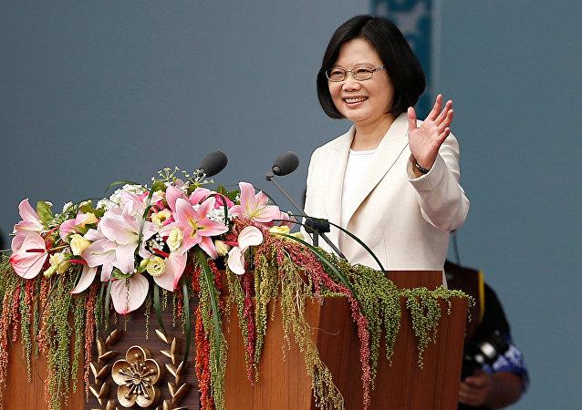 Tsai Ing-wen, presidenta de Taiwán, durante la ceremonia de inauguración