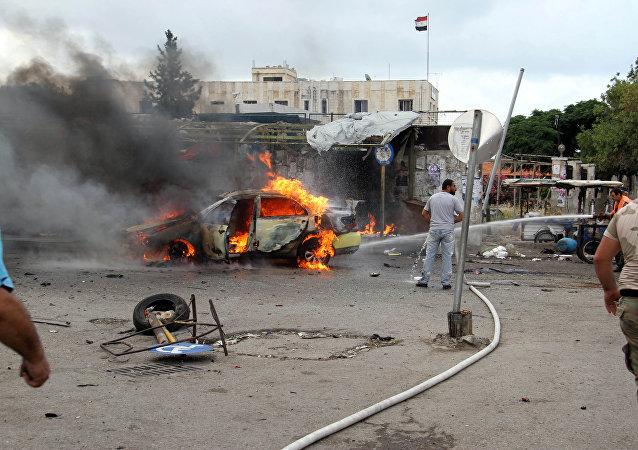 Lugar de una de las explosiones sucedidas en Siria