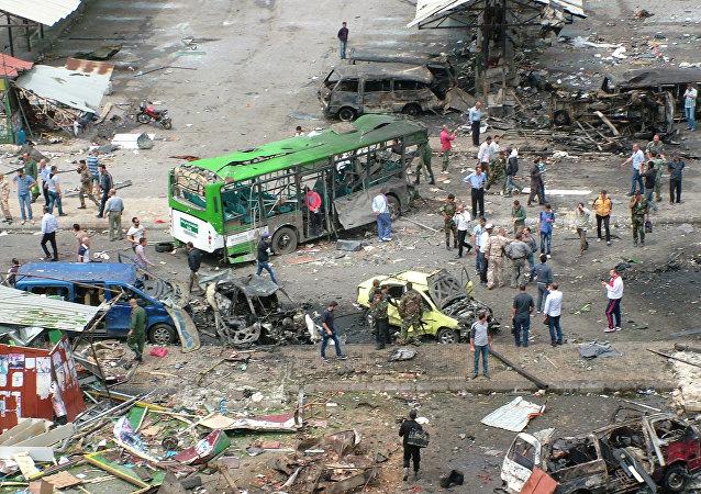 Lugar del atentado en Tartus, Siria