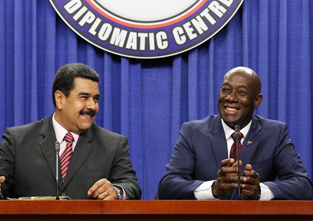 Presidente de Venezuela, Nicolás Maduro y primer ministro de Trinidad y Tobago, Keith Rowley