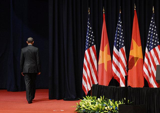 Barack Obama, el presidente de EEUU, durante su visita a Vietnam