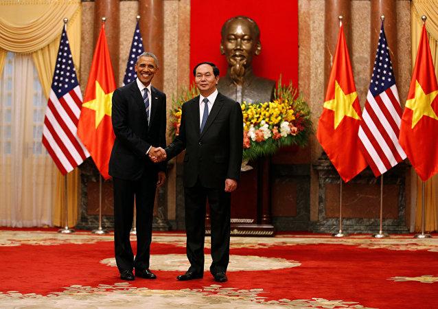 Presidente de EEUU Barack Obama y el presidente de Vietnam Tran Dai Quang