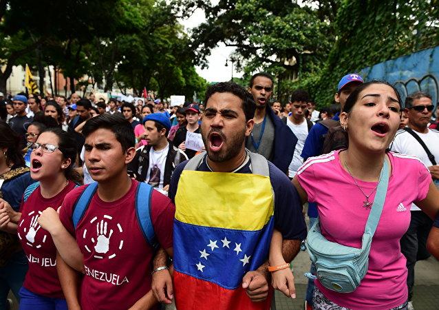 Marcha universitaria en Venezuela