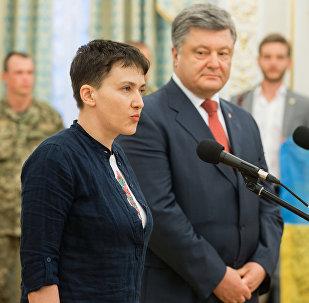 Nadezhda Sávchenko y Petró Poroshenko