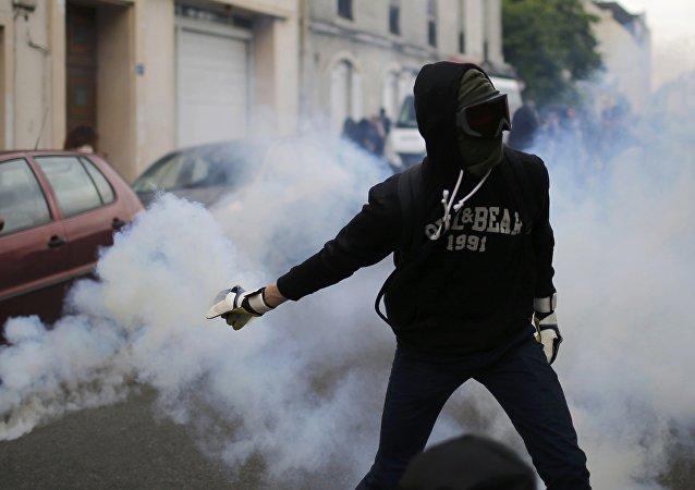 Un manifestante francés