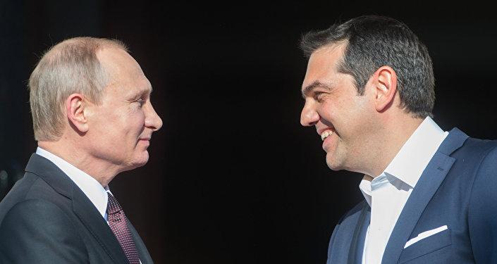 Vladímir Putin, el presidente de Rusia, y primer ministro de Grecia, Alexis Tsipras (archivo)