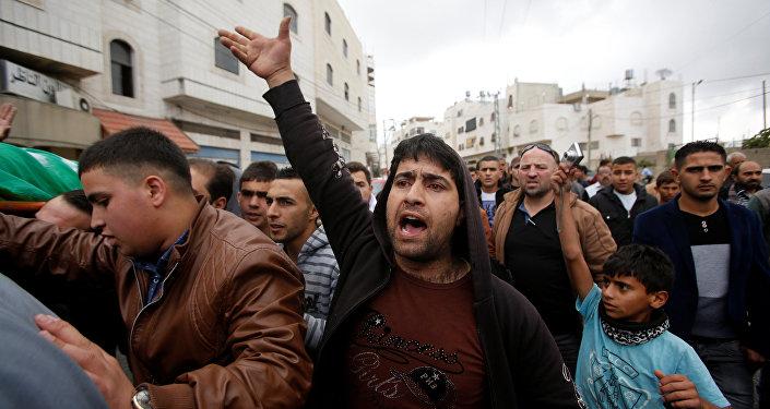 Funeral de Abdel Fatah al Sharif, el atacante palestino asesinado por un soldado israelí