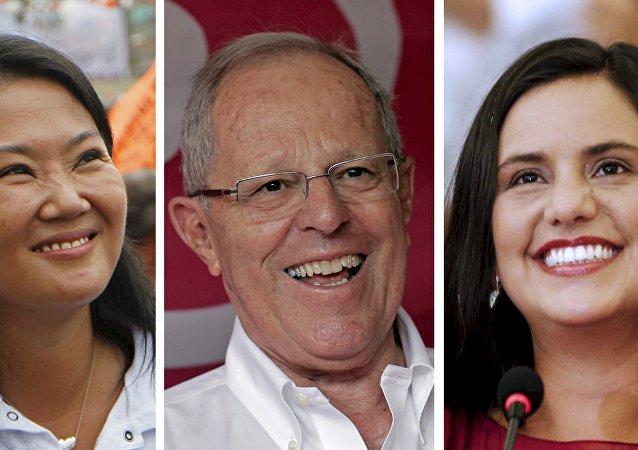 Candidatos a la presidencia de Perú: Keiko Fujimori, Pedro Pablo Kuczynski y Veronika Mendoza