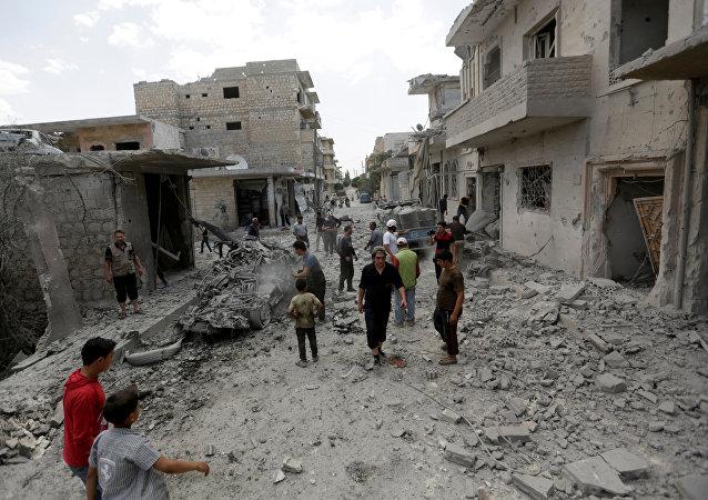 Edificios destruidos en Idlib, Siria (archivo)