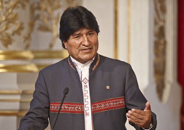 Bolivia's President Evo Morales gestures as he speaks to the media during a joint media conference with France's President Francois Hollande at the Elysee Palace in Paris