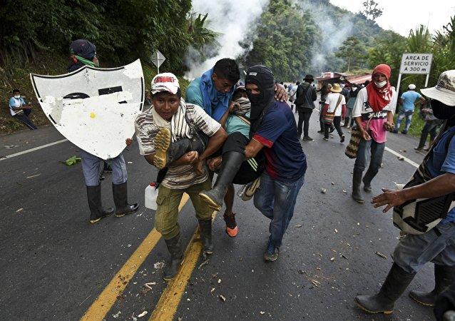 Protestas de los campesinos en Colombia
