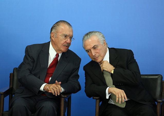 Expresidente de Brasil, José Sarney, y presidente interino, Michel Temer