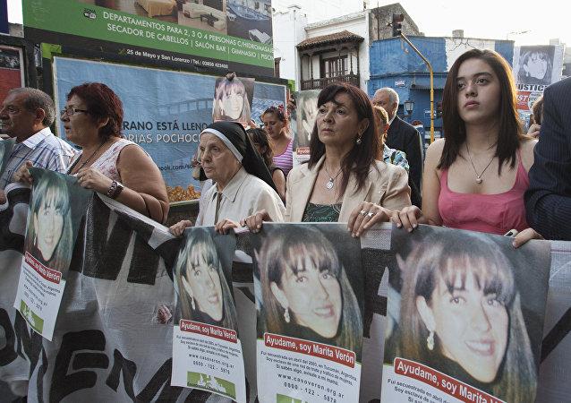 Susana Trimarco en una marcha contra los secuestradores de su hija