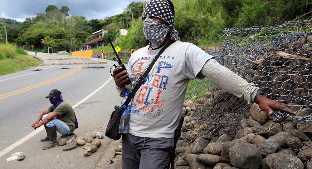 Protesta de indígenas y campesinos en Colombia
