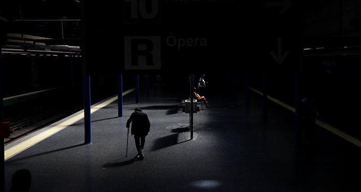 Una estación del metro en Madrid, España