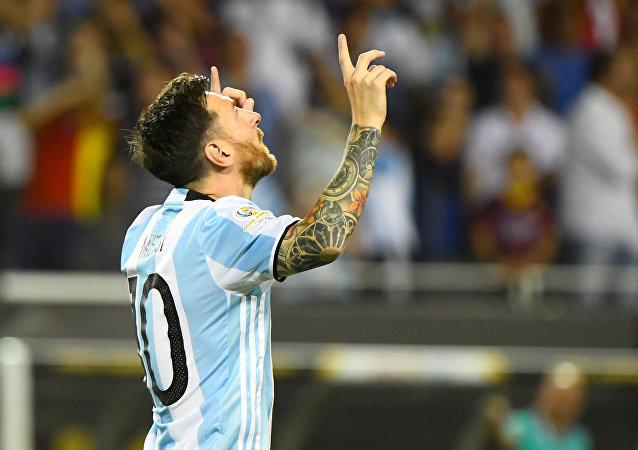 Messi celebra un gol. Copa America Centenario, 10 de junio de 2016.