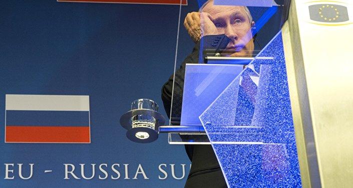 Presidente ruso, Vladímir Putin, durante una reunión Rusia-UE