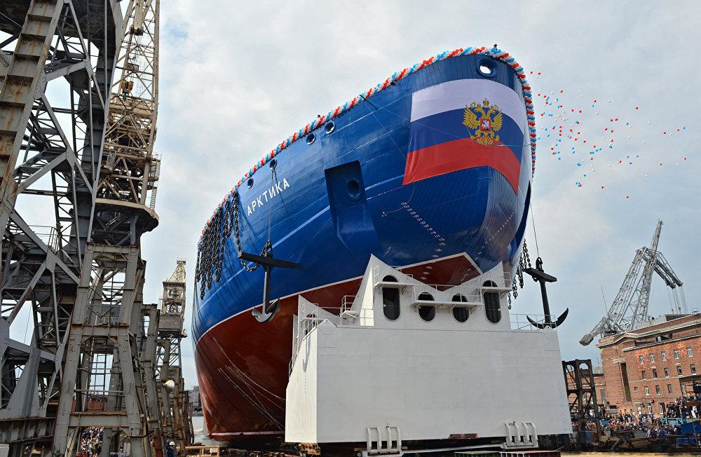 La botadura del rompehielos nuclear Árktika en San Petersburgo