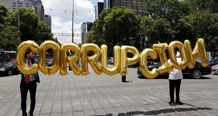 La palabra 'Corrupción' de globos